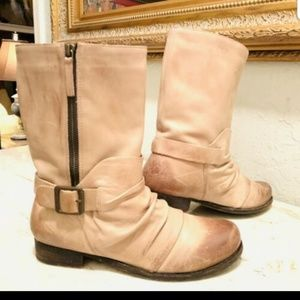 Vince Camuto Leather Tan Distressed Boots